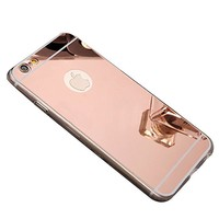 iPhone 6 Mirror Case, iPhone 6S Mirror case,YMCCOOL Luxury Mirror Back Shock-Absorption TPU Bumper Anti-Scratch Bright Reflection Protective Case for iPhone 6S /iPhone 6 4.7inch (Rose-golden)