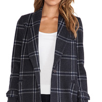 Classic Checked Collar Jacket in Charcoal