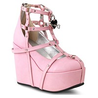 Demonia Pink Vegan Leather Cage Bootie Rave Shoes with Heart-Locket Detail