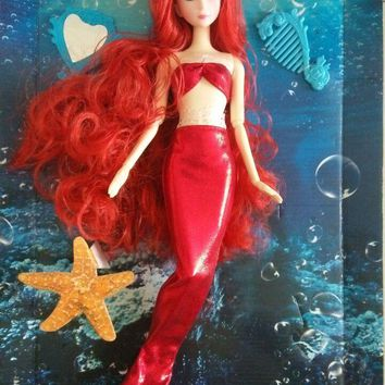 Mermaid Doll with 14 joint & Long Red Curly Hair & Fish tail Suit Dress / Baby Toy Doll For Barbie Doll Girls Birthday Gift