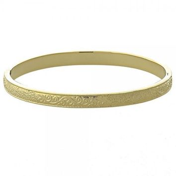 Gold Layered 07.156.0038 Individual Bangle, Leaf Design, Diamond Cutting Finish, Golden Tone (03 MM Thickness, Size 5 - 2.50 Diameter)