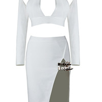 Basse White Two Piece Dress Set