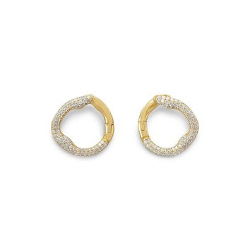 18 Karat Gold Plated Signity CZ Hinged Post Earrings