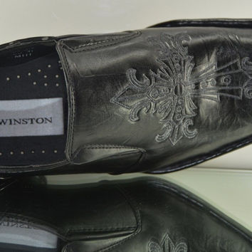 Winston Wing Gothic Cross Embroidered  Slip On Dress Shoes Square Toe Mens