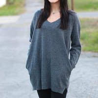 Around Town V-neck Sweater Tunic {Grey}