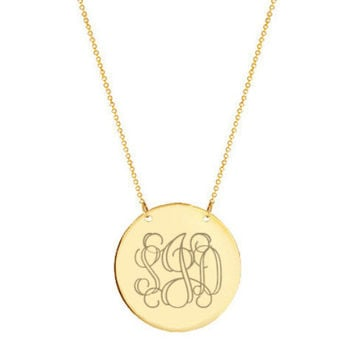 "Gold monogram Disc necklace 1.5"" Inch 18k gold plated Circle pendant select any initial made with 925 silver and gold plated"