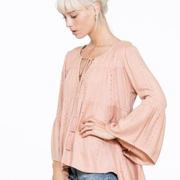 Long Sleeve Top with Neck Tassel - Blush