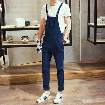 Men Slim Fit Overall  Suspender One Piece Jumpsuit
