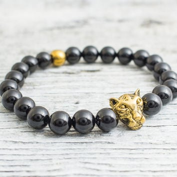 Black onyx beaded gold Leopard head stretchy bracelet with a gold plated hematite, mens bracelet, womens bracelet