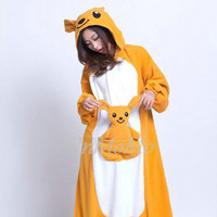 KIGURUMI Cosplay Romper Charactor animal Hooded Pajamas  Xmas gift Adult Costume sloth  outfit Sleepwear-kangaroo animal Onesuit