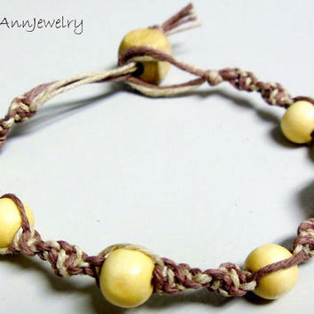 Spiral Knot Hemp Bracelet Mocha Brown Two Tone