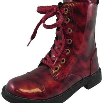 Umi Girl's Stomp Patent Leather Lace Up Zipper Closure Ankle Combat Boots Cherry