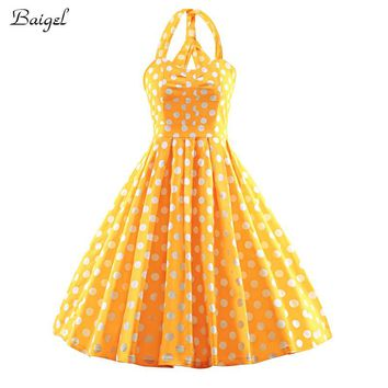 Womens Robe V-Neck Yellow Polka Dot Vintage Dress Summer Party Dresses 2017