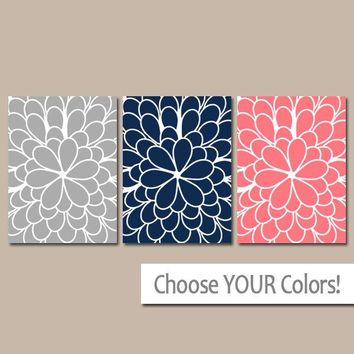 Navy Coral Wall Art, CANVAS or Prints Floral Flower Dahlia Floral Pattern Set of 3 Home Decor Bedroom Decor, Bathroom Home Decor Wall Decor