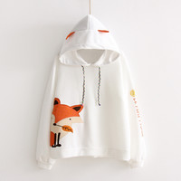 Hoodies Women Basic Sweatshirts Mori Girl 2017 Spring White Embroidery Print Fox Japanese Cotton Kawaii Casual Sweatshirts