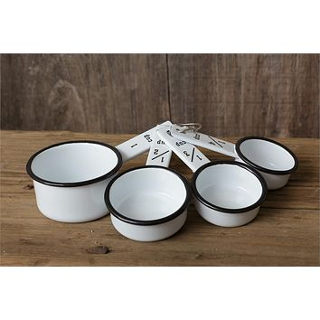 Enamelware Set of 4 Measuring Cups white with black trim