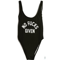 """NO F@CKS GIVEN"" One Piece Swimsuit"
