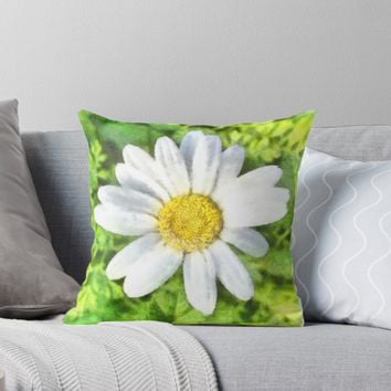 'Radiant Daisy Watercolor' Throw Pillow by taiche