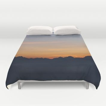 Mountain Range Silhouette Duvet Cover by Mixed Imagery