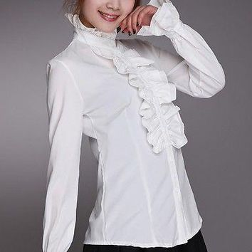 Victorian Women Long Puff Sleeves OL Shirt High Neck Frilly Ruffle Shirt Blouses