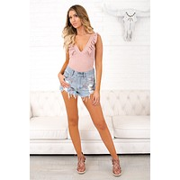 These Are The Days Ruffle Bodysuit (Pink)