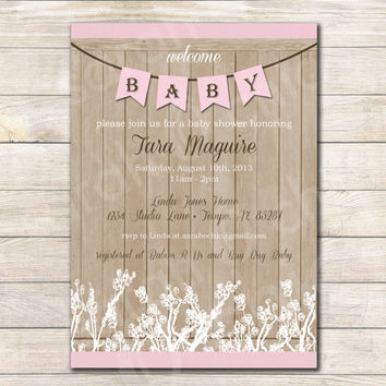 Printable Rustic Baby Shower Invitation (girl) -- sarah O chic -- pink, farmhouse shower, rustic invitation, rustic baby shower