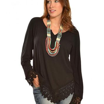 Red Ranch Women's Black Crochet Long Sleeve Top - Sheplers