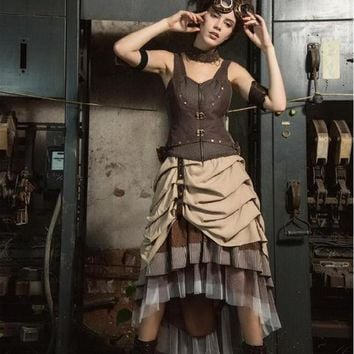 Vintage Victorian Bustle Steampunk Brown Asymmetrical Skirt
