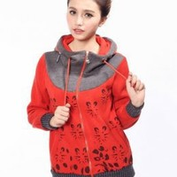 Beautiful Red Retro Hooded Prints Hoodies : Wholesaleclothing4u.com