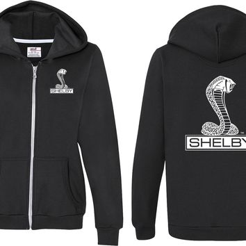 Ladies Ford Full Zip Hoodie Shelby Cobra Front and Back