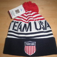 NWT Mens Team USA Olympic 2014 Red White Blue Striped Beanie Hat One Size