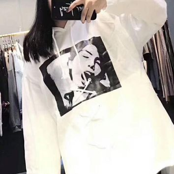 puma x fenty women men fashion print hoodie thick top pullover sweater sweatshirt white i mg fssh  number 1