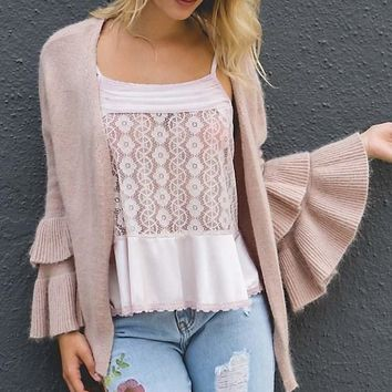 Ruffled Bell Cardigan - Rose Pink by POL Clothing