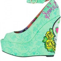 "Women's ""Sweet Tooth"" Peep Toe Wedges by Iron Fist (Green)"