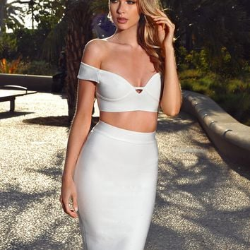 Quisha White High Waist Midi Bandage Skirt