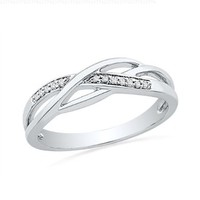 Sterling Silver Round Diamond Twisted Fashion Ring (0.05 cttw)