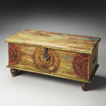 Beautiful Mesa Carved Wood Trunk Cocktail Table by Butler Specialty