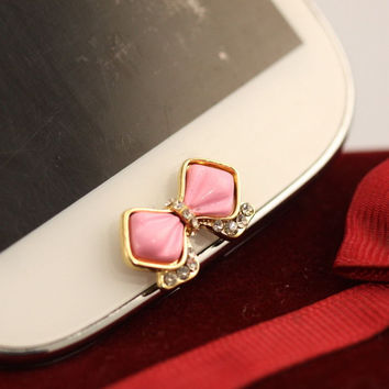 Cute Pink Bowknot Bow Rhinestone Home Button Sticker For Galaxy S3/S4 Note US LS