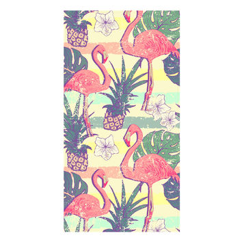 Flamingos and Pineapples Towel