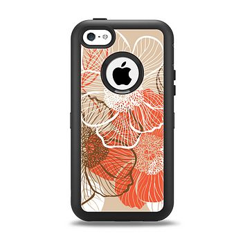 The Brown and Orange Transparent Flowers Apple iPhone 5c Otterbox Defender Case Skin Set