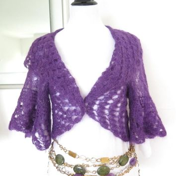 Purple silk mohair sweater shrug, hand knit lacy cardigan, luxury knitwear, bridal shrug