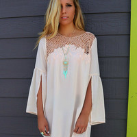 Loose Slit Sleeve Lace Patchwork  Dress