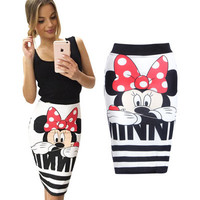 Minnie Mouse Printed Slim Sexy One Piece Dress a12283