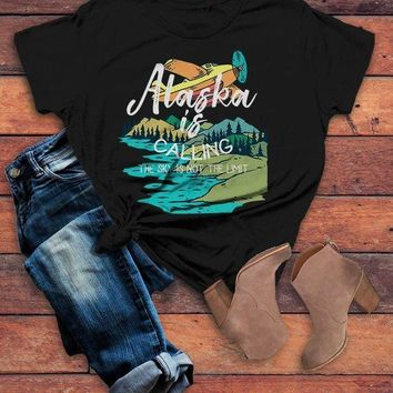 Women's Alaska Shirt Vintage Shirts Calling Sky Not Limit Travel Graphic Tee Hipster Shirts
