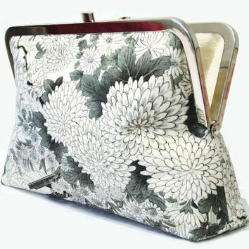"Silk Clutch In Grey, Ivory, Black And Green With Chrysanthemums And Peony, Made With Japanese Kimono Silk, Silk Bridal Purse 9"" x 5.5"""