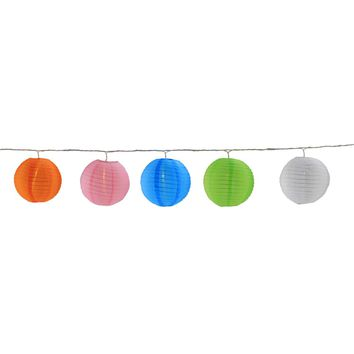 Set of 5 LED Multi-Color Chinese Lantern Patio and Garden Novelty Christmas Lights - White Wire