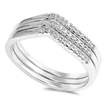 Sterling Silver CZ Simulated Diamond Triple Tiara Ring 6MM