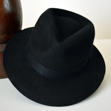 Black Wool Felt Fedora - Wide Brim Merino Wool Felt Handmade Fedora Hat - Men Women