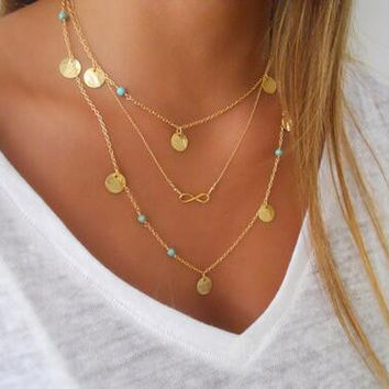 New Hot Unique Charming Gold Coin Tassels Bar Infinity Lariat Necklaces Long Strip Blue Beads Multilayer Chain Necklaces Women