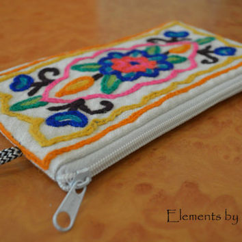 Kashmiri embroidered Zipper Pouch, Cosmetic Bag, Gadget Bag